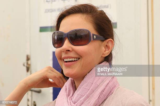 US actress and United Nations Population Fund's Goodwill Ambassador Ashley Judd visits the Zaatari refugee camp located close to the northern...
