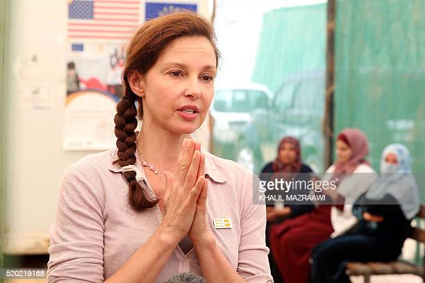 US actress and United Nations Population Fund's Goodwill Ambassador Ashley Judd visits a clinic for women at the Zaatari refugee camp located close...