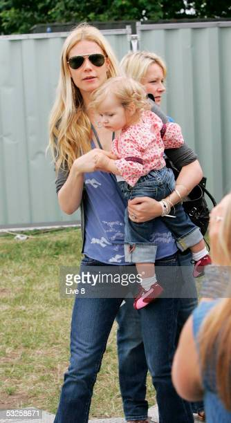 "Actress and wife of Coldplay's Chris Martin, Gwyneth Paltrow, with their daughter Apple are seen backstage at ""Live 8 London"" in Hyde Park on July 2,..."