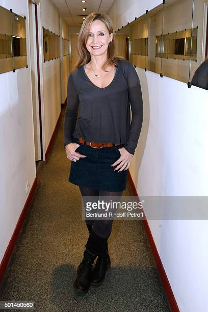 Actress and wife of Main Guest of the show Olivier Marchal Catherine Marchal attends the 'Vivement Dimanche' French TV Show at Pavillon Gabriel on...
