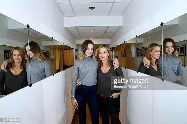 Actress and wife of Main Guest of the show Olivier Marchal Catherine Marchal and her daughter Zoe Marchal attend the 'Vivement Dimanche' French TV...