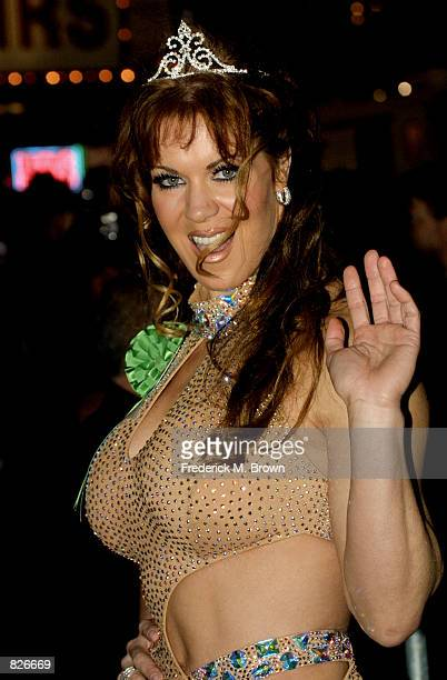 Actress and wrestler Joanie waves during the 70th Anniversary Hollywood Christmas Parade November 25 2001 in Los Angeles CA