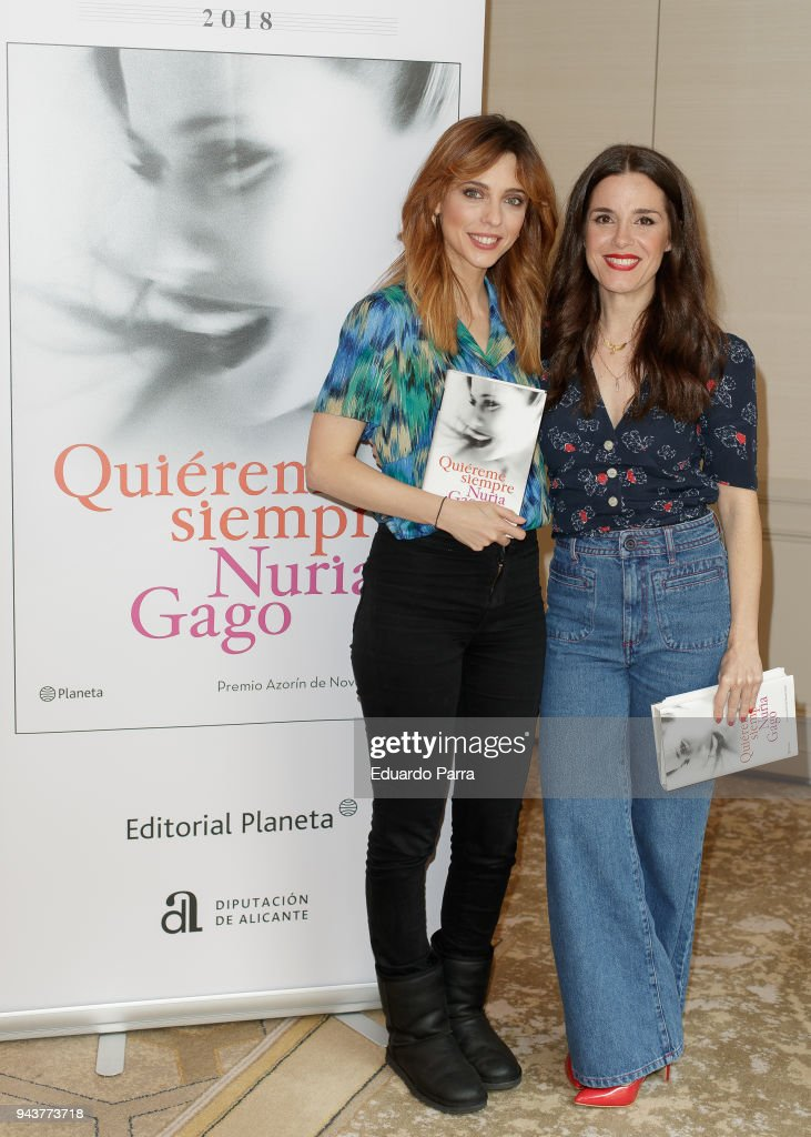Actress and writer Leticia Dolera (L) and actress and writer Nuria Gago attend the 'Quiereme Siempre' book presentation at Intercontinental hotel on April 9, 2018 in Madrid, Spain.