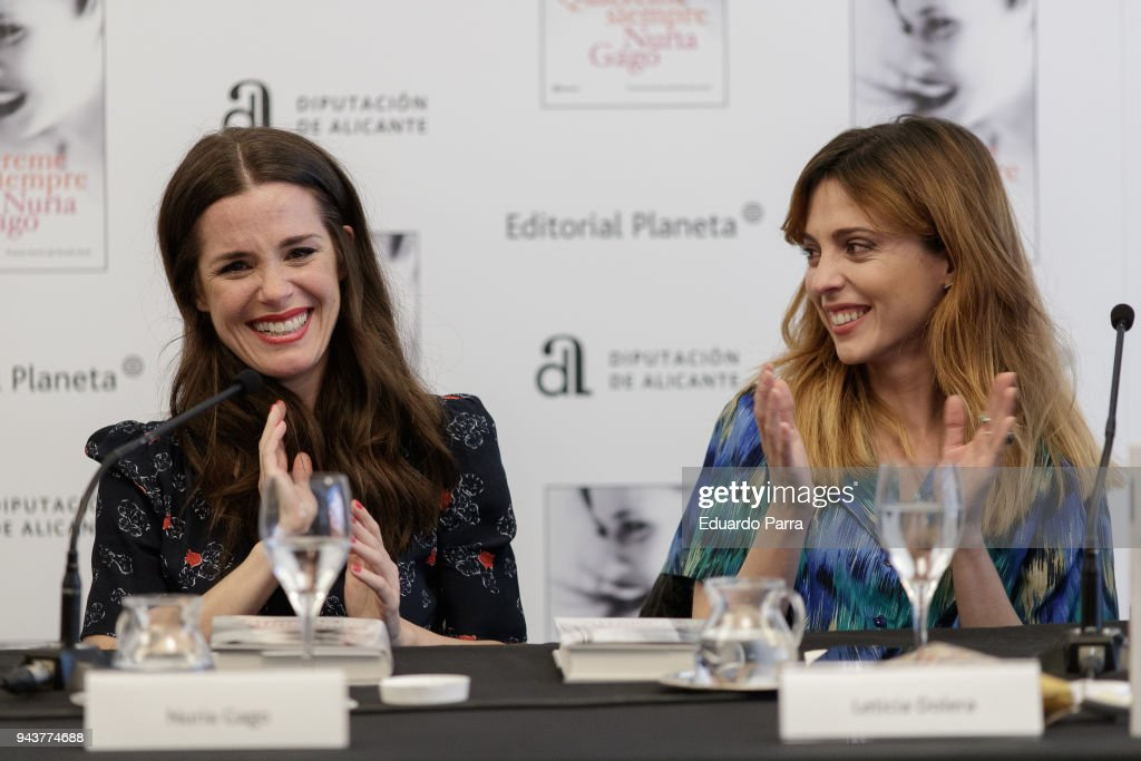 Actress and writer Leticia Dolera (R) and actress and writer Nuria Gago attend the 'Quiereme Siempre' book presentation at Intercontinental hotel on April 9, 2018 in Madrid, Spain.