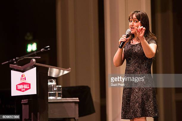 Actress and writer Mara Wilson speaks about her new book at Town Hall Seattle on September 21, 2016 in Seattle, Washington.