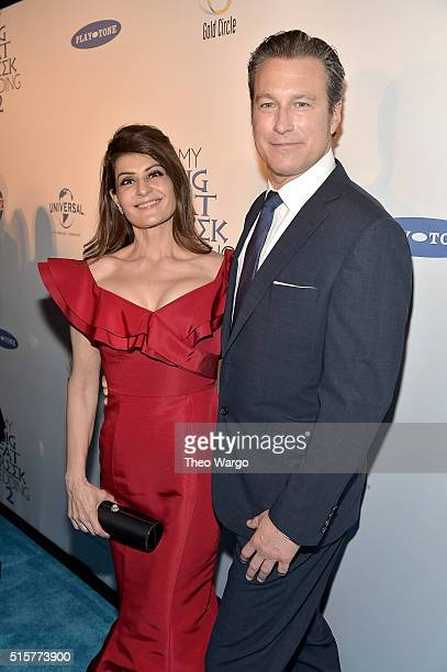 """Actress and writer Nia Vardalos and actor John Corbett attend """"My Big Fat Greek Wedding 2"""" New York Premiere at AMC Loews Lincoln Square 13 theater..."""
