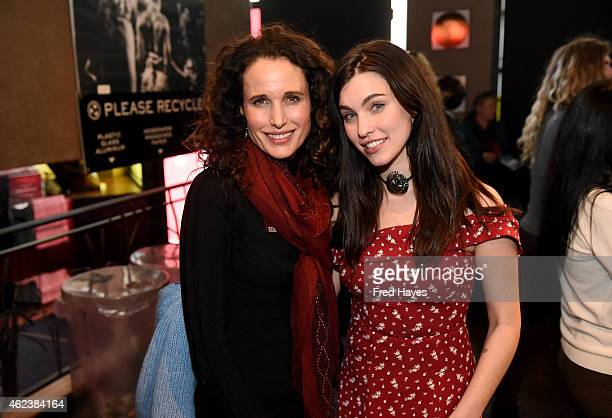 Actress Andie MacDowell and daughter actress/musician Rainey Qualley attend the Sundance ASCAP Music Cafe during the 2015 Sundance Film Festival on...