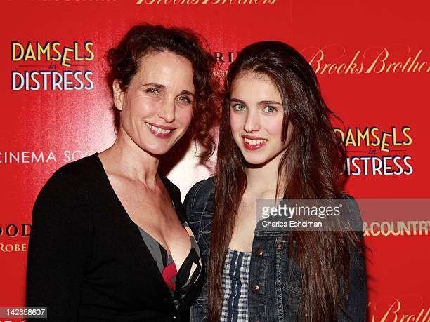 Actress Andie MacDowell and daughter Rainey Qualiey attend The Cinema Society with Town Country and Brooks Brothers screening of 'Damsels in...