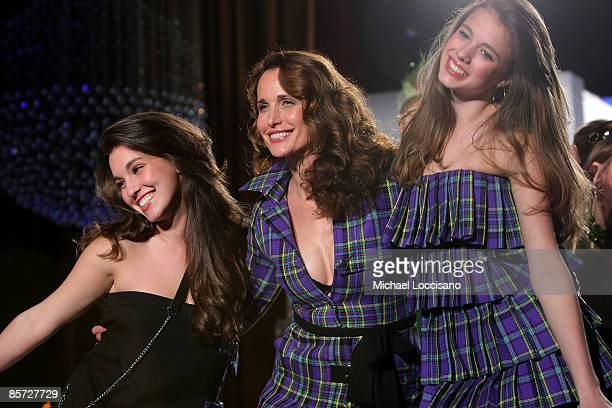 Actress Andie MacDowell and daughters Rainey Qualley and Sarah Margaret Qualley walk in the 'Dressed To Kilt' charity fashion show benefiting Friends...