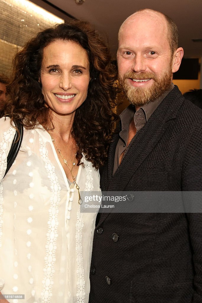 Actress Andie MacDowell (L) and ESCADA fashion director Daniel Wingate attend ESCADA and W Magazine's celebration of Cool Earth with hosts Daniel Wingate, Suzanne Todd and Jennifer Todd at Escada Boutique on September 26, 2013 in Beverly Hills, California.