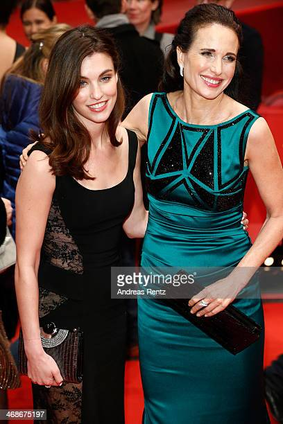 Actress Andie MacDowell and her daughter Rainey Qualley attend the 'Praia do futuro' premiere during 64th Berlinale International Film Festival at...