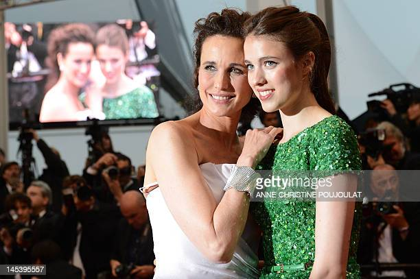 US actress Andie MacDowell and her daughter Sarah Margaret Qualley pose as they arrive for the closing ceremony of the 65th Cannes film festival on...