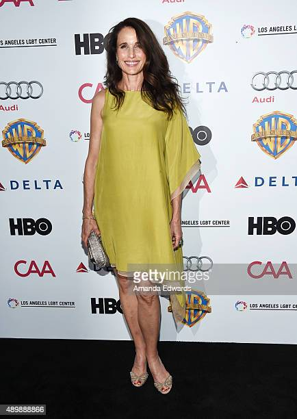 Actress Andie MacDowell arrives at the Chairs For Charity event benefiting The Los Angeles LGBT Center homeless youth services at The Washbow on...