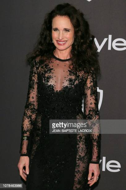 US actress Andie MacDowell arrives for the Warner Bros and In Style 20th annual post Golden Globes party at the Oasis Courtyard of the Beverly Hilton...