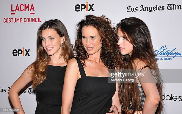 Actress Andie MacDowell arrives with daughters Rainey Qualley and Margaret Qualley arrive at a screening of 'Diana Vreeland The Eye Has To Travel' at...