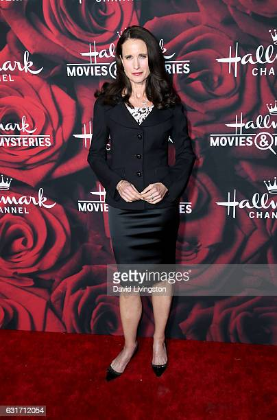 Actress Andie MacDowell attends Hallmark Channel and Hallmark Movies and Mysteries Winter 2017 TCA Press Tour at The Tournament House on January 14...