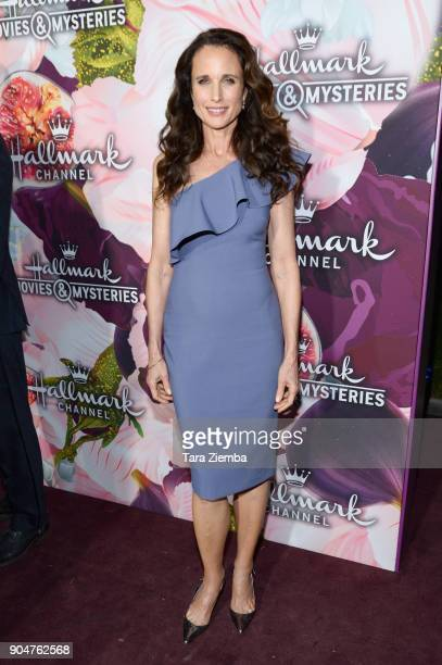 Actress Andie MacDowell attends Hallmark Channel and Hallmark Movies and Mysteries Winter 2018 TCA Press Tour at Tournament House on January 13 2018...
