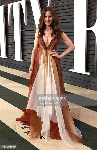 Actress Andie MacDowell attends the 2015 Vanity Fair Oscar Party hosted by Graydon Carter at the Wallis Annenberg Center for the Performing Arts on...