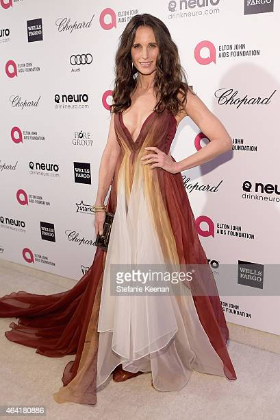 Actress Andie MacDowell attends the 23rd Annual Elton John AIDS Foundation Academy Awards viewing party with Chopard on February 22 2015 in Los...