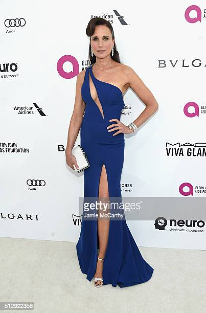 Actress Andie MacDowell attends the 24th Annual Elton John AIDS Foundation's Oscar Viewing Party at The City of West Hollywood Park on February 28...
