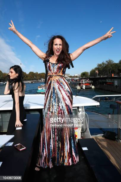 Actress Andie MacDowell attends the After Party of Le Defile L'Oreal Paris as part of Paris Fashion Week Womenswear Spring/Summer 2019 on September...