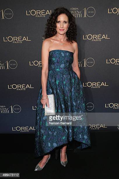 Actress Andie MacDowell attends the L'Oreal Paris Women of Worth 2015 Celebration Arrivals at The Pierre Hotel on December 1 2015 in New York City