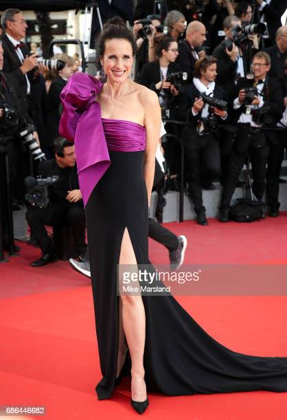 Actress Andie MacDowell attends the The Meyerowitz Stories screening during the 70th annual Cannes Film Festival at Palais des Festivals on May 21...