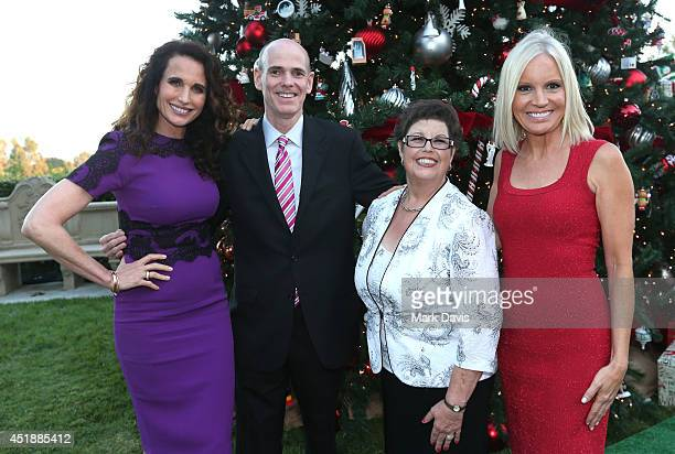 Actress Andie Macdowell Bill Abbott President CEO at Crown Media/Hallmark Channels Author Debbie Macomber and Michelle Vicary attend the Hallmark...