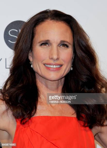 US actress Andie MacDowell poses upon her arrival for the 25th annual Elton John AIDS Foundation's Academy Awards Viewing Party on February 26 2017...