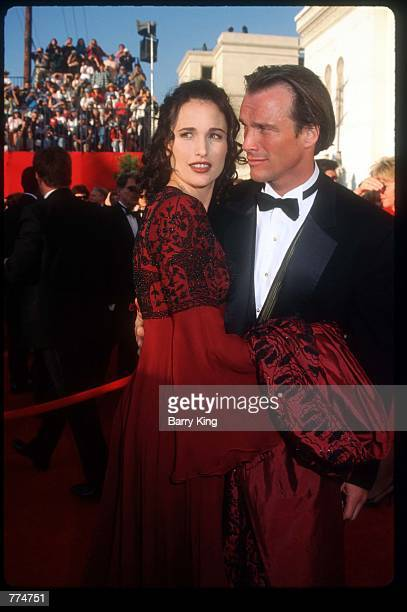 Actress Andie MacDowell stands with her husband at the sixtyseventh Academy Awards March 27 1995 in Los Angeles CA After nearly threequarters of a...