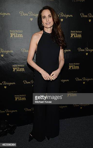 Actress Andie MacDowell visits the Dom Perignon Lounge at The Santa Barbara International Film Festival on January 31 2015 in Santa Barbara California