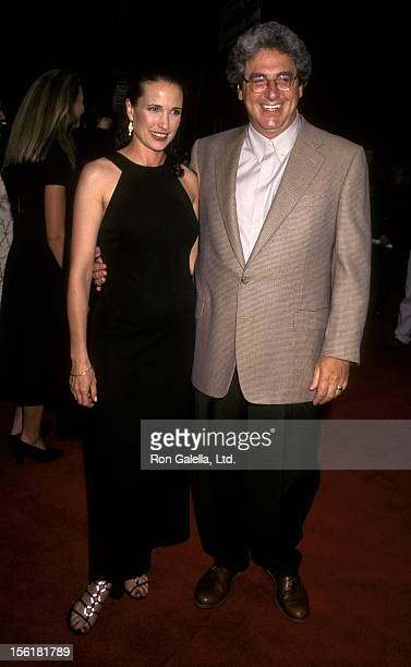 Actress Andie McDowell and director Harold Ramis attend June 27 1996 at the Ziegfeld Theater in New York City
