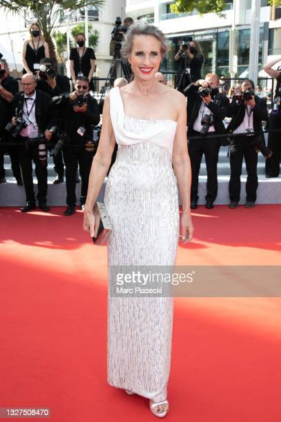 """Actress Andie McDowell attends the """"Tout S'est Bien Passe """" screening during the 74th annual Cannes Film Festival on July 07, 2021 in Cannes, France."""
