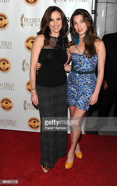 Actress Andie McDowell poses with her daughter Rainey Qualleyat the 10th Annual Beverly Hills Film Festival Opening Night at the Clarity Theater on...