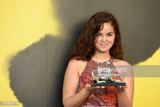 Actress Andra Guti poses with Pardo for the Best Actress of International Competition at the Palmares photocall during the 71st Locarno Film Festival...