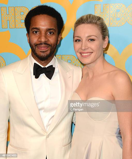 Actress Andre Holland and Actress Juliet Rylance attend HBO's Official Golden Globe Awards After Party at The Beverly Hilton Hotel on January 11 2015...