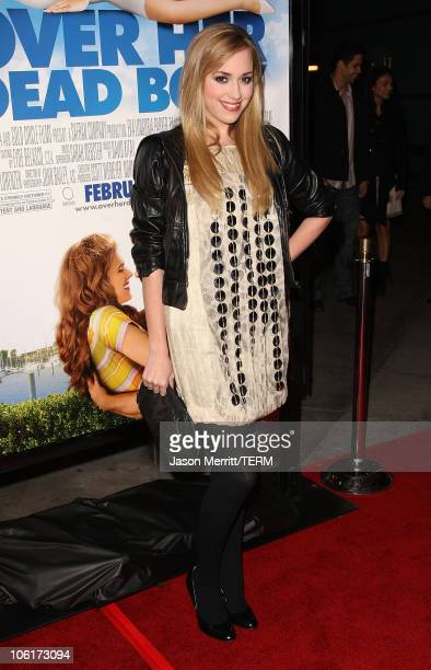 Actress Andrea Bowen arrives at Over Her Dead Body Los Angeles premiere at the ArcLight Hollywood Theatre on January 29 2008 in Hollywood California