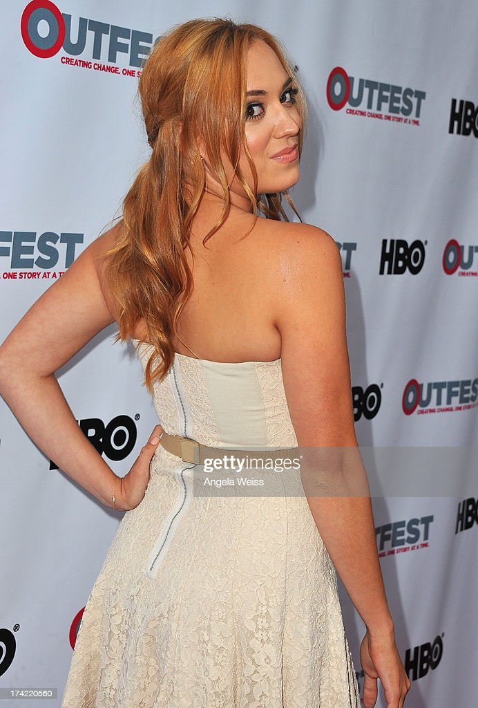 Actress Andrea Bowen arrives at the 2013 Outfest Film Festival closing night gala of 'G.B.F.' at the Ford Theatre on July 21, 2013 in Hollywood, California.
