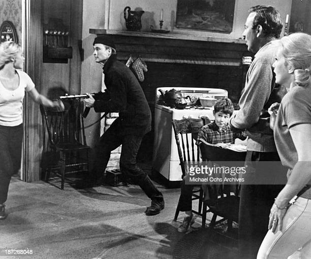 Actress Andrea Dromm actor John Phillip Law actor Sheldon Collins actor Carl Reiner and actress Eva Marie Saint on set of the movie 'The Russians Are...