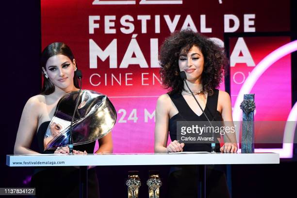 Actress Andrea Duro and Mina El Hammani attend the Malaga Film Festival 2019 closing day gala at Cervantes Theater on March 23 2019 in Malaga Spain