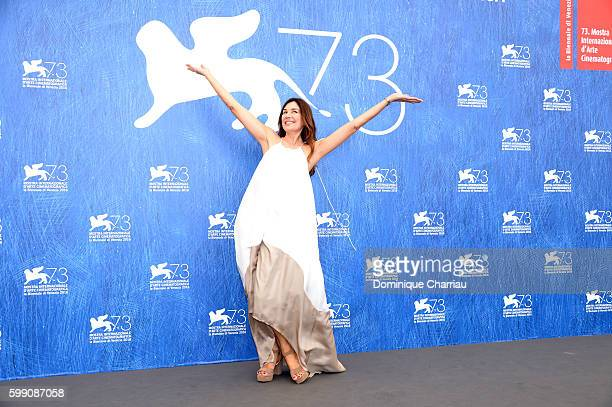 Actress Andrea Frigerio attends the photocall of 'The Distinguished Citizen' during the 73rd Venice Film Festival at Palazzo del Casino on September...