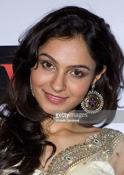 Actress Andrea Jeremiah attends the premiere of 'Vishwaroopam' at Pacific Theaters at the Grove on January 24 2013 in Los Angeles California