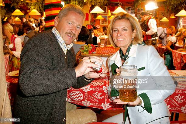 Actress Andrea L'Arronge and Charly Reichenwallner attend the opening evening of the Oktoberfest 2010 at Hippodrom at Theresienwiese on September 18...