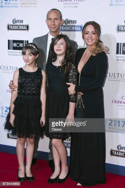 Actress Andrea Legarreta poses with his family during the 46th Diosas de Plata movie awards at Metropolitan Theater on April 25 2017 in Mexico City...