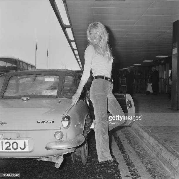 Actress Andrea Lloyd at Haethrow Airport London UK 15th March 1971