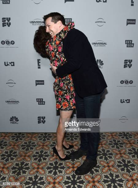 Actress Andrea Martin and actor Sean Hayes arrive at NBCUniversal's Press Junket at Beauty Essex on November 13 2017 in Los Angeles California