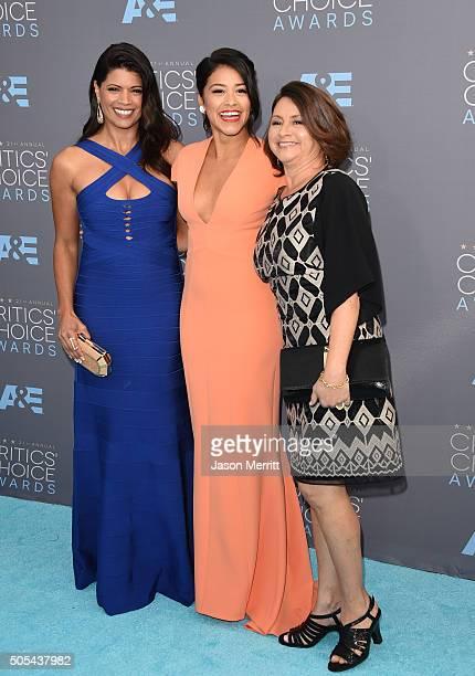 Actress Andrea Navedo actress Gina Rodriguez and Magali Rodriguez attend the 21st Annual Critics' Choice Awards at Barker Hangar on January 17 2016...