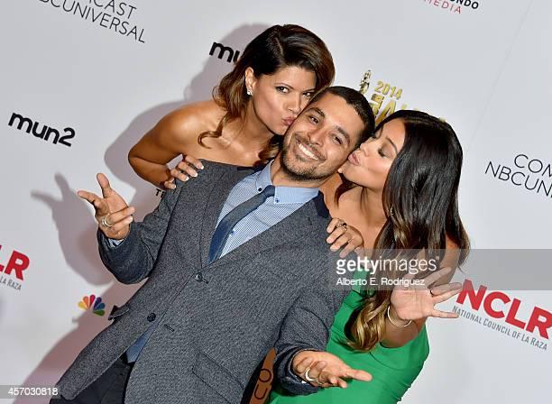 Actress Andrea Navedo honoree Wilmer Valderrama and honoree Gina Rodriguez attend the Winner's Walk during the 2014 NCLR ALMA Awards at the Pasadena...