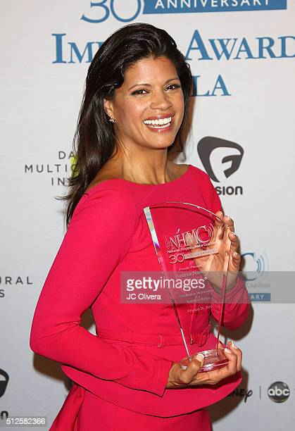 Actress Andrea Navedo wins 'The Outstanding Performance in a Television Series Award' for 'Jane The Virgin' during the 19th Annual National Hispanic...