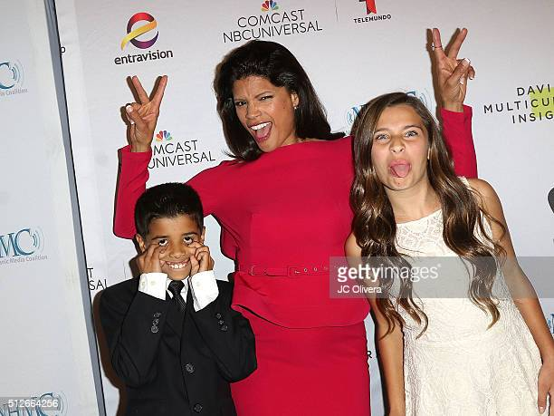 Actress Andrea Navedo with their children Nico and Ava Pietronuto attend the 19th Annual National Hispanic Media Coalition Impact Awards Gala at...